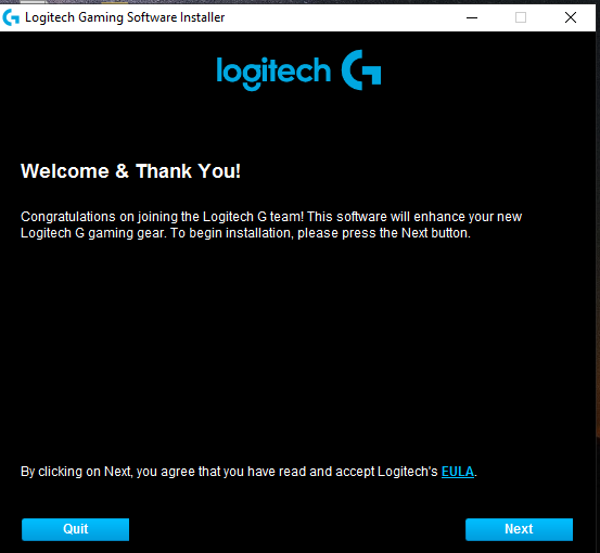 Logitech software welcome board