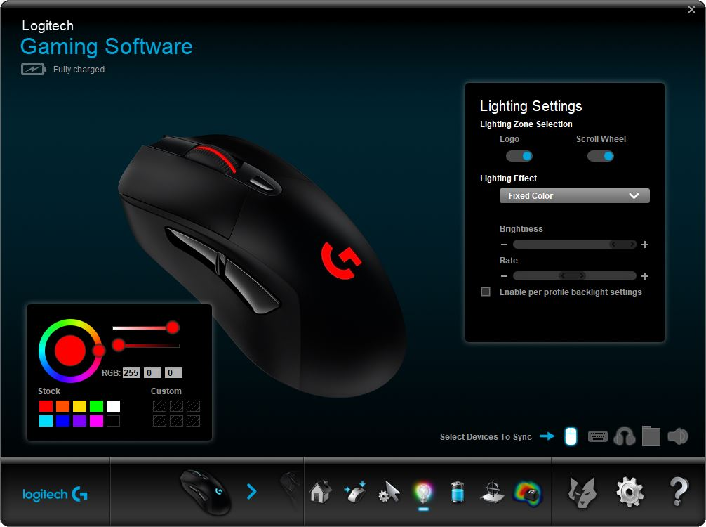 Gaming mouse lighting adjust with Logitech gaming software