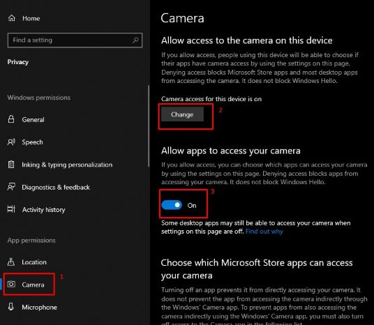 Camera access windows 10