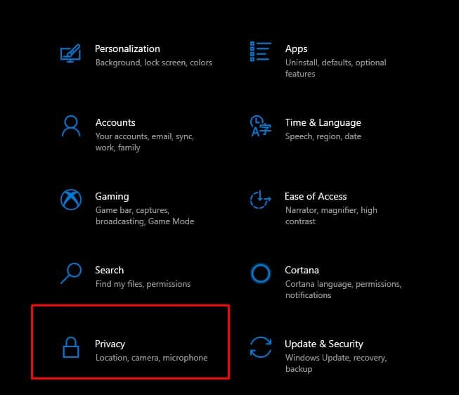 Windows 10 privacy setting