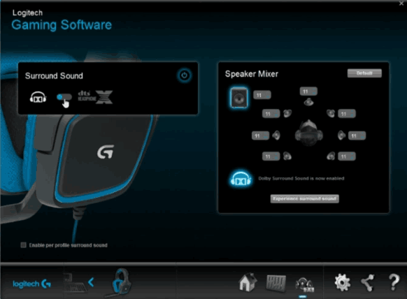 Headset G430 settings with Logitech gaming software