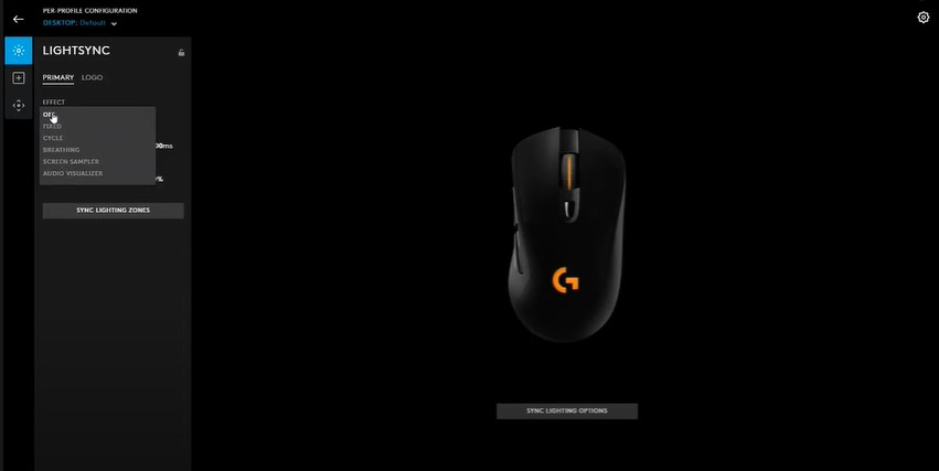 G703 mouse with G hub software