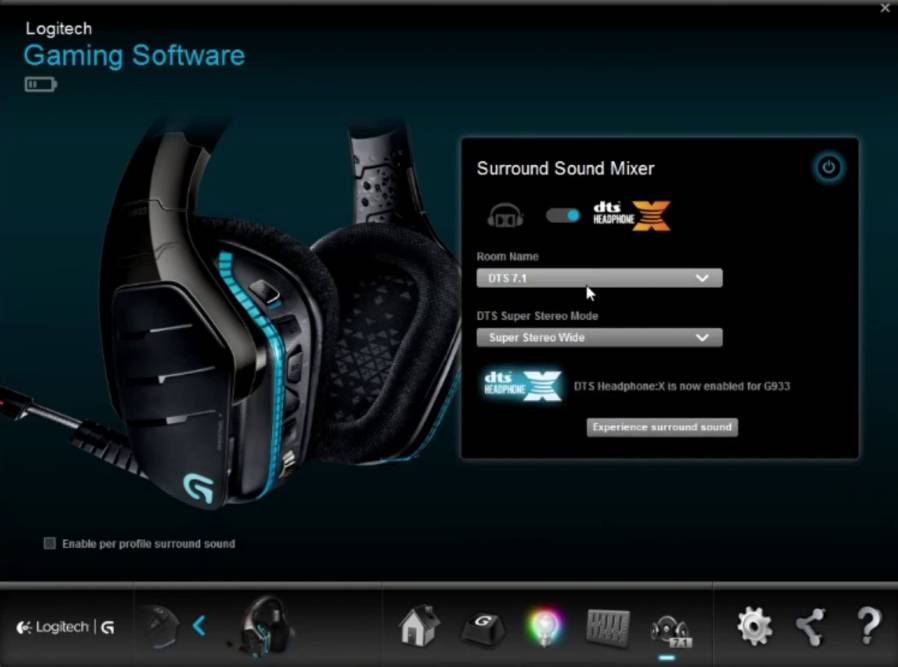 surround sound settings of G933