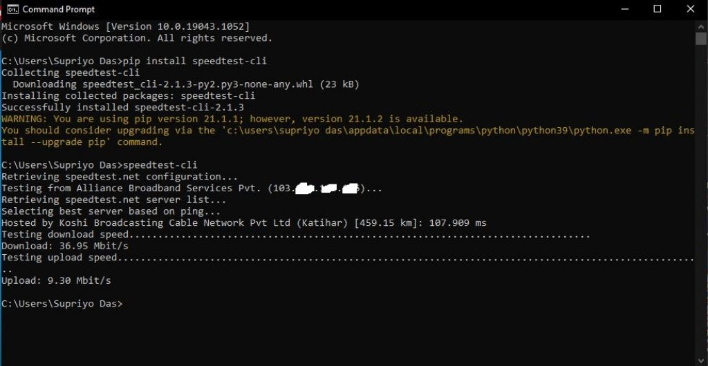 Command prompt internet speed result