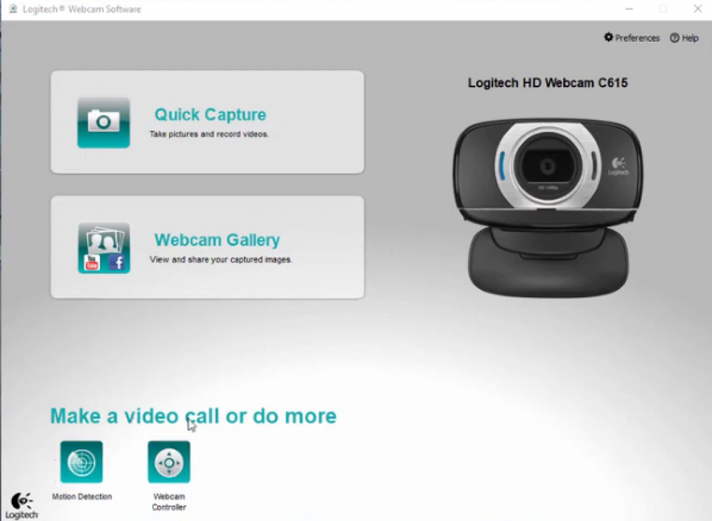 Logitech C615 webcam deshboard
